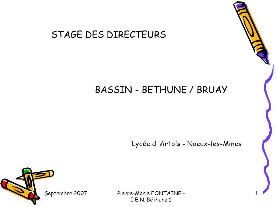 Septembre 2007Pierre-Marie FONTAINE - I.E.N. Béthune 1 1 STAGE DES DIRECTEURS BASSIN - BETHUNE / BRUAY Lycée d Artois - Noeux-les-Mines
