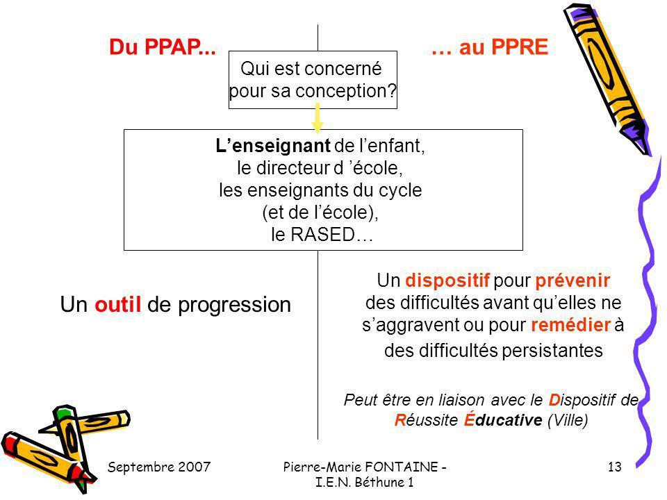 Septembre 2007Pierre-Marie FONTAINE - I.E.N. Béthune 1 13 Du PPAP...… au PPRE Qui est concerné pour sa conception? Lenseignant de lenfant, le directeu