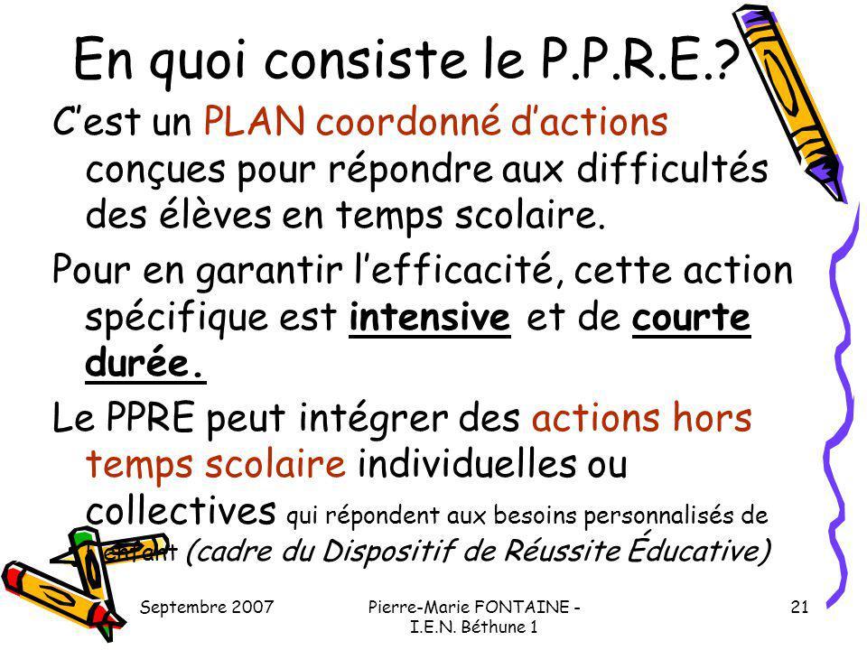 Septembre 2007Pierre-Marie FONTAINE - I.E.N. Béthune 1 21 En quoi consiste le P.P.R.E.? Cest un PLAN coordonné dactions conçues pour répondre aux diff