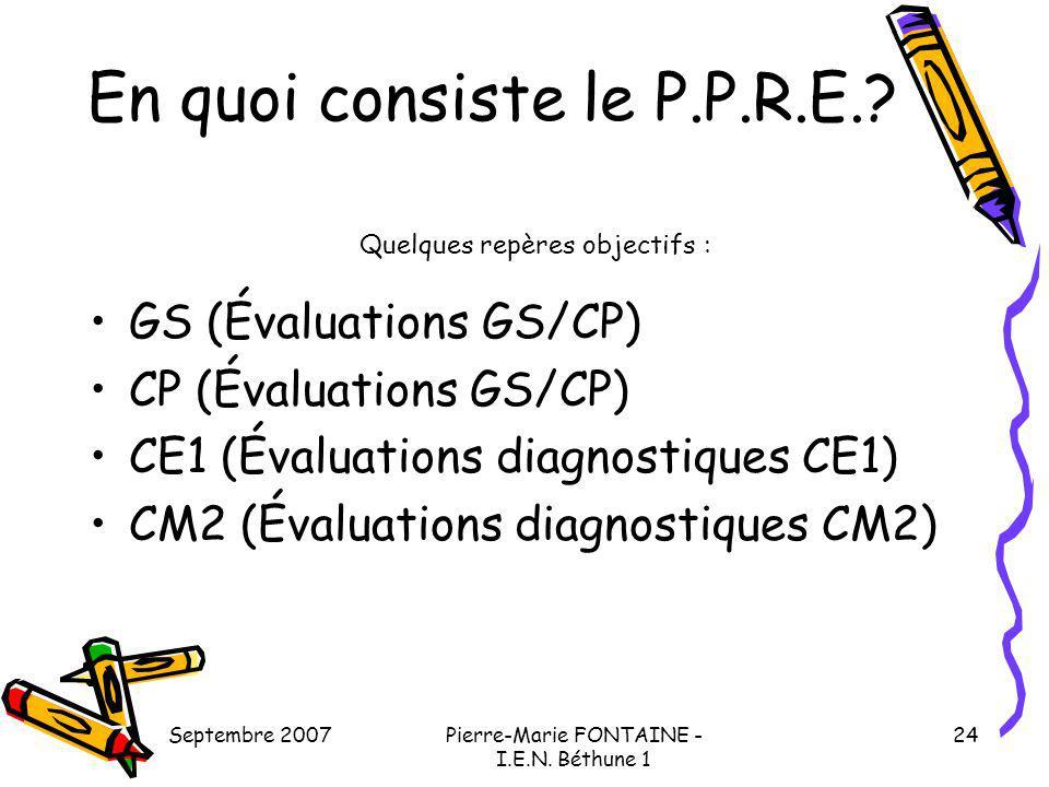 Septembre 2007Pierre-Marie FONTAINE - I.E.N. Béthune 1 24 GS (Évaluations GS/CP) CP (Évaluations GS/CP) CE1 (Évaluations diagnostiques CE1) CM2 (Évalu