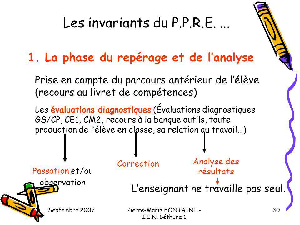 Septembre 2007Pierre-Marie FONTAINE - I.E.N. Béthune 1 30 Les invariants du P.P.R.E.... 1. La phase du repérage et de lanalyse Prise en compte du parc