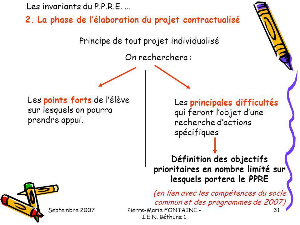 Septembre 2007Pierre-Marie FONTAINE - I.E.N. Béthune 1 31 2. La phase de lélaboration du projet contractualisé Principe de tout projet individualisé O