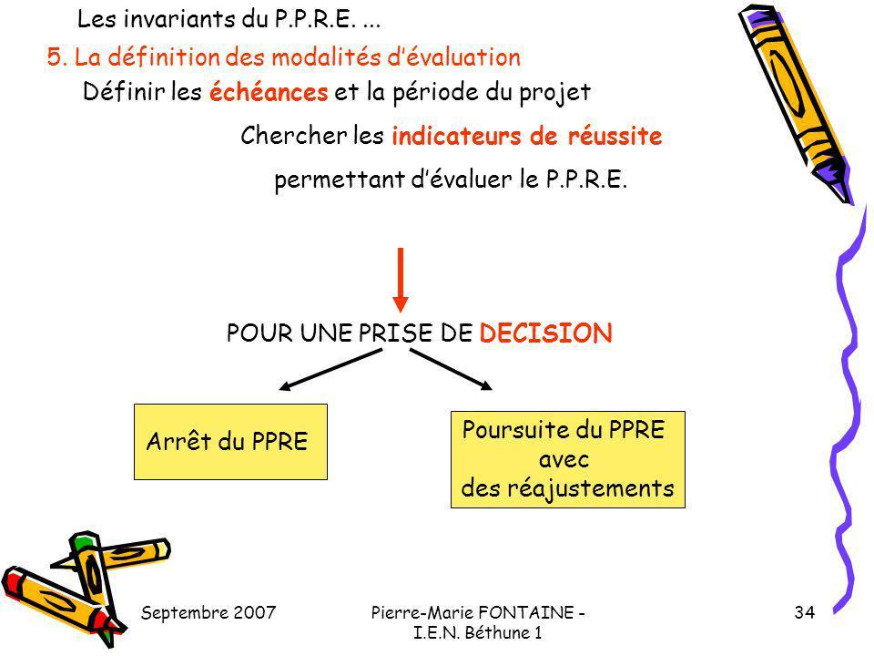 Septembre 2007Pierre-Marie FONTAINE - I.E.N. Béthune 1 34 5. La définition des modalités dévaluation Définir les échéances et la période du projet Che
