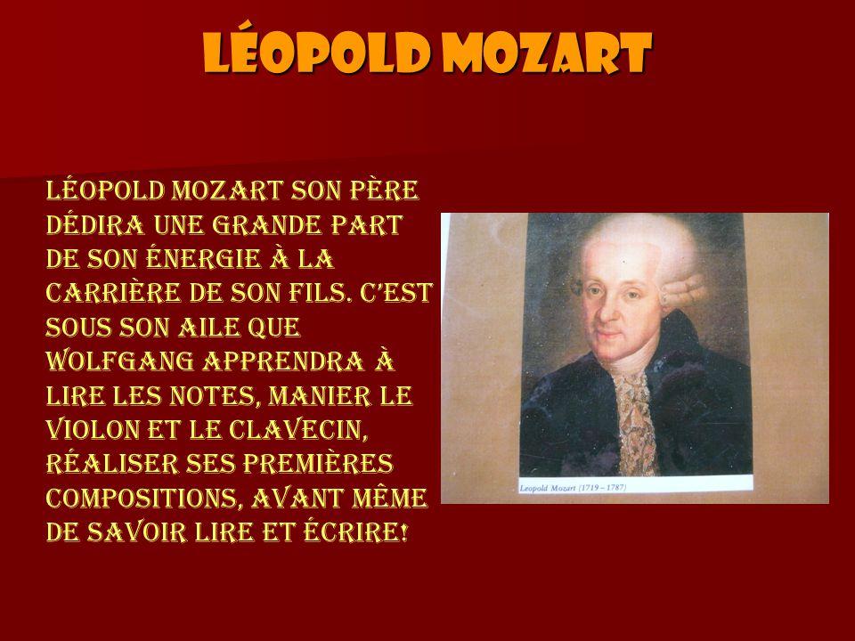 Léopold Mozart son père dédira une grande part de son énergie à la carrière de son fils. Cest sous son aile que Wolfgang apprendra à lire les notes, m