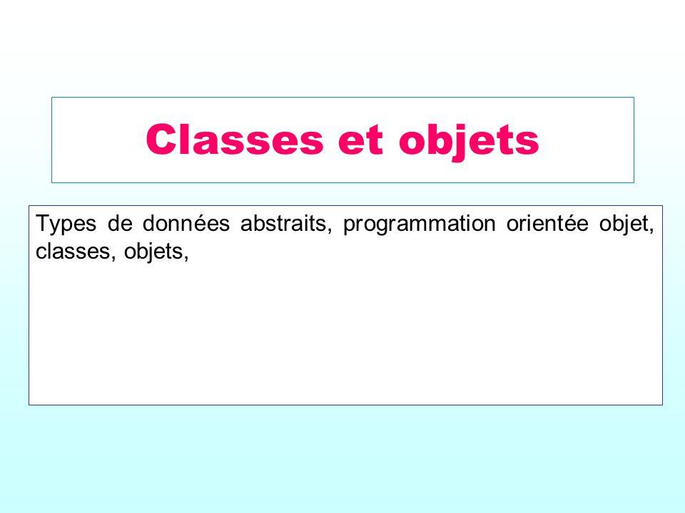 Classes et objets Types de données abstraits, programmation orientée objet, classes, objets,