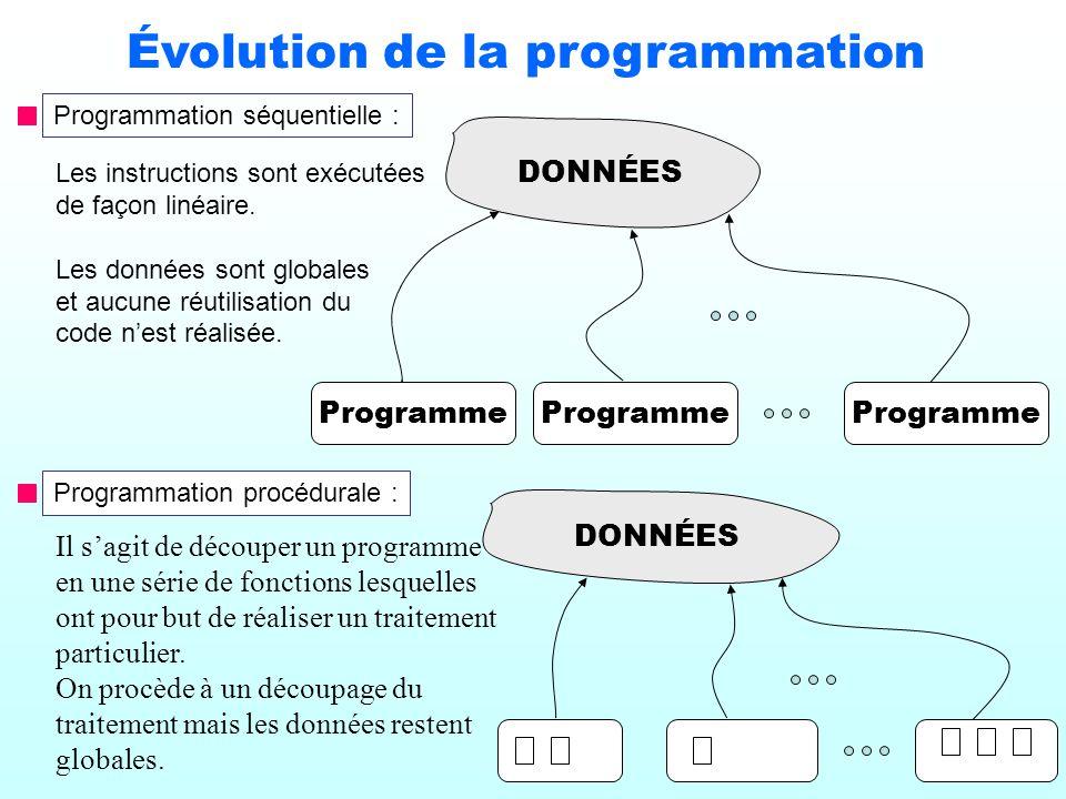 2 Évolution de la programmation Programmation séquentielle : Les instructions sont exécutées de façon linéaire. Les données sont globales et aucune ré