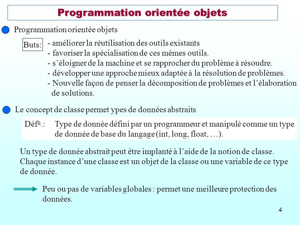 4 Programmation orientée objets Buts: - améliorer la réutilisation des outils existants - favoriser la spécialisation de ces mêmes outils. - séloigner