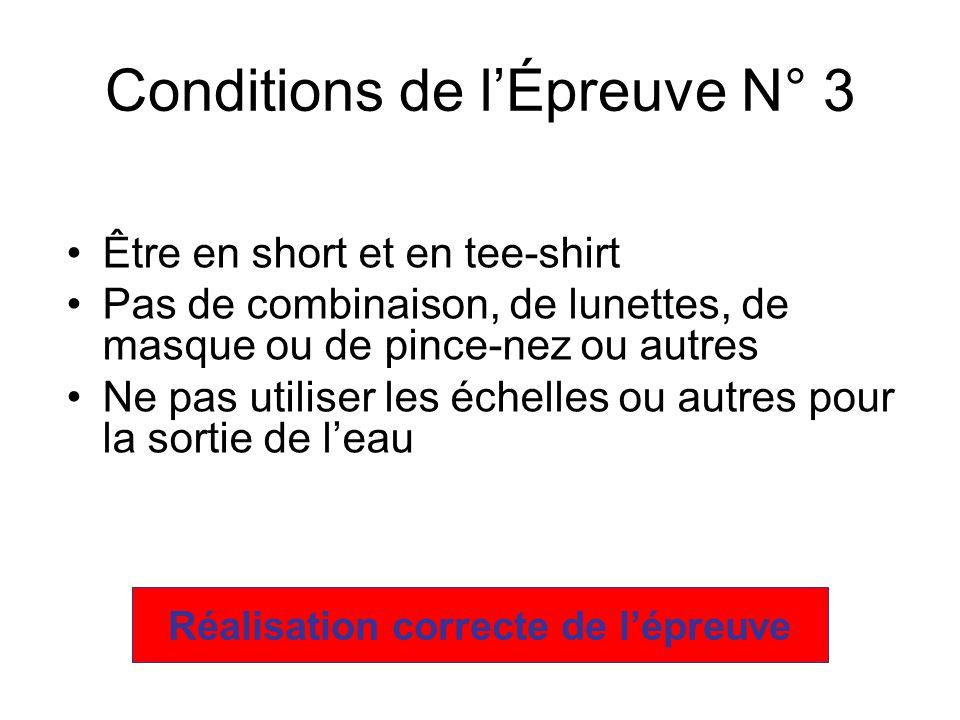 Être en short et en tee-shirt Pas de combinaison, de lunettes, de masque ou de pince-nez ou autres Ne pas utiliser les échelles ou autres pour la sortie de leau Conditions de lÉpreuve N° 3 Réalisation correcte de lépreuve