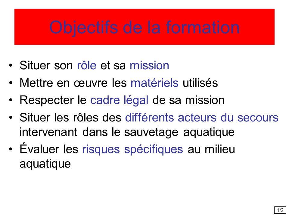 Objectifs de la formation Situer son rôle et sa mission Mettre en œuvre les matériels utilisés Respecter le cadre légal de sa mission Situer les rôles des différents acteurs du secours intervenant dans le sauvetage aquatique Évaluer les risques spécifiques au milieu aquatique 1/2