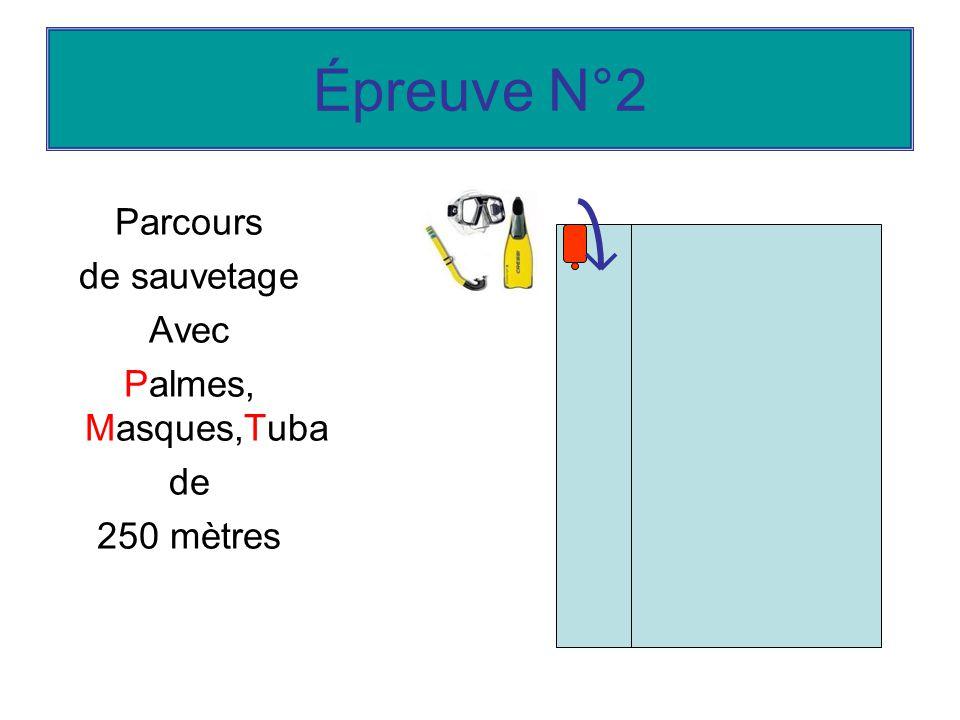 Épreuve N°2 Parcours de sauvetage Avec Palmes, Masques,Tuba de 250 mètres