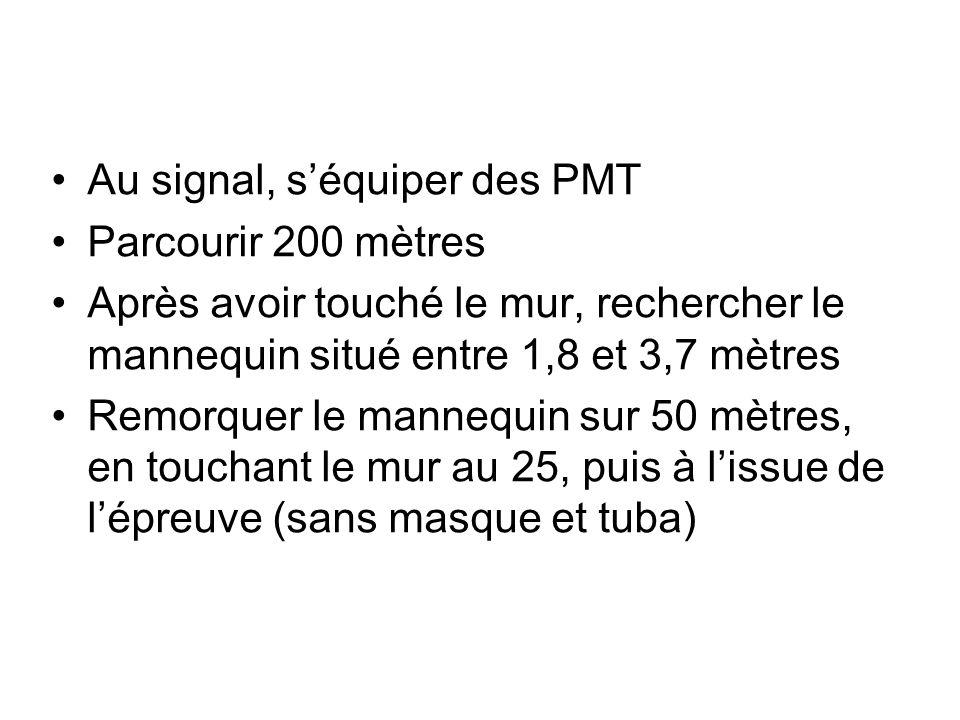 Au signal, séquiper des PMT Parcourir 200 mètres Après avoir touché le mur, rechercher le mannequin situé entre 1,8 et 3,7 mètres Remorquer le mannequin sur 50 mètres, en touchant le mur au 25, puis à lissue de lépreuve (sans masque et tuba)
