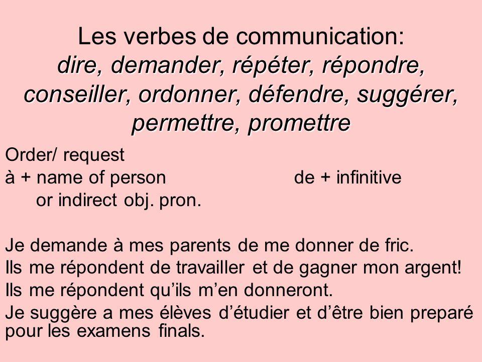 dire, demander, répéter, répondre, conseiller, ordonner, défendre, suggérer, permettre, promettre Les verbes de communication: dire, demander, répéter