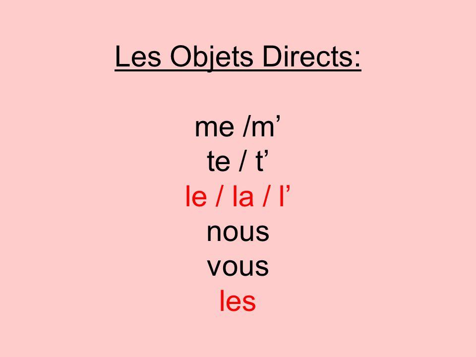 Les Objets Directs: me /m te / t le / la / l nous vous les