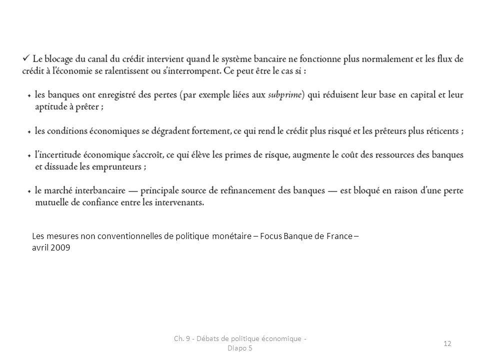 Ch. 9 - Débats de politique économique - Diapo 5 12 Les mesures non conventionnelles de politique monétaire – Focus Banque de France – avril 2009
