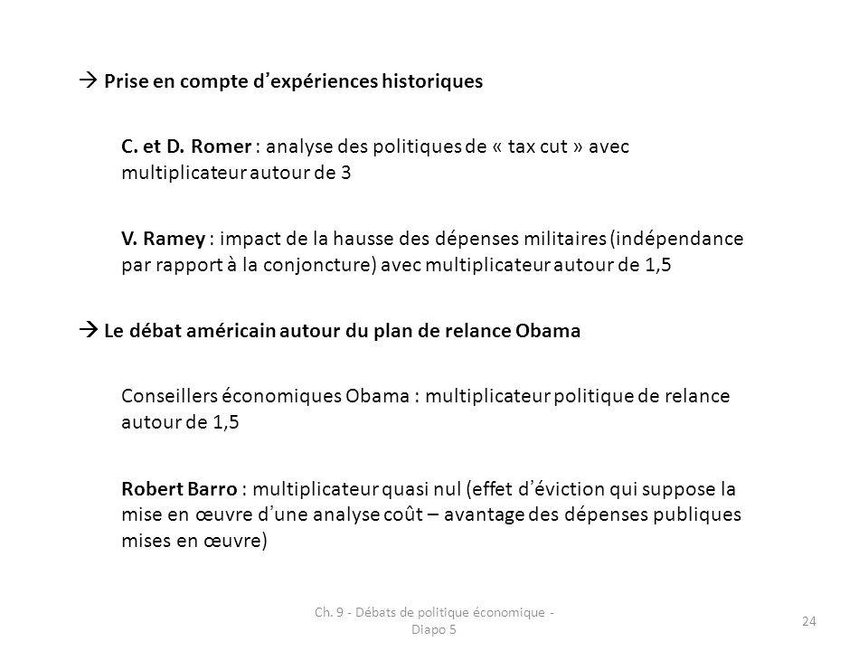 Ch. 9 - Débats de politique économique - Diapo 5 24 Prise en compte dexpériences historiques C.