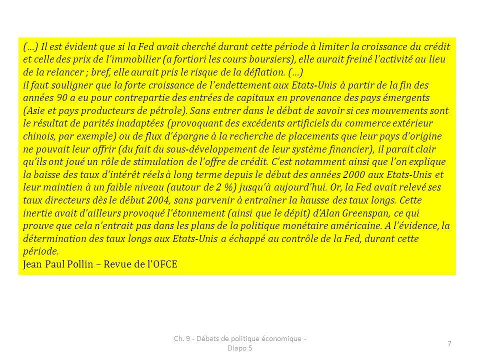 Ch. 9 - Débats de politique économique - Diapo 5 7 (…) Il est évident que si la Fed avait cherché durant cette période à limiter la croissance du créd