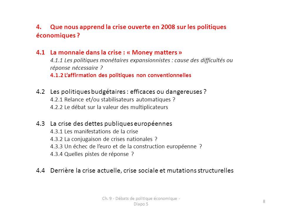 9 4.Que nous apprend la crise ouverte en 2008 sur les politiques économiques .