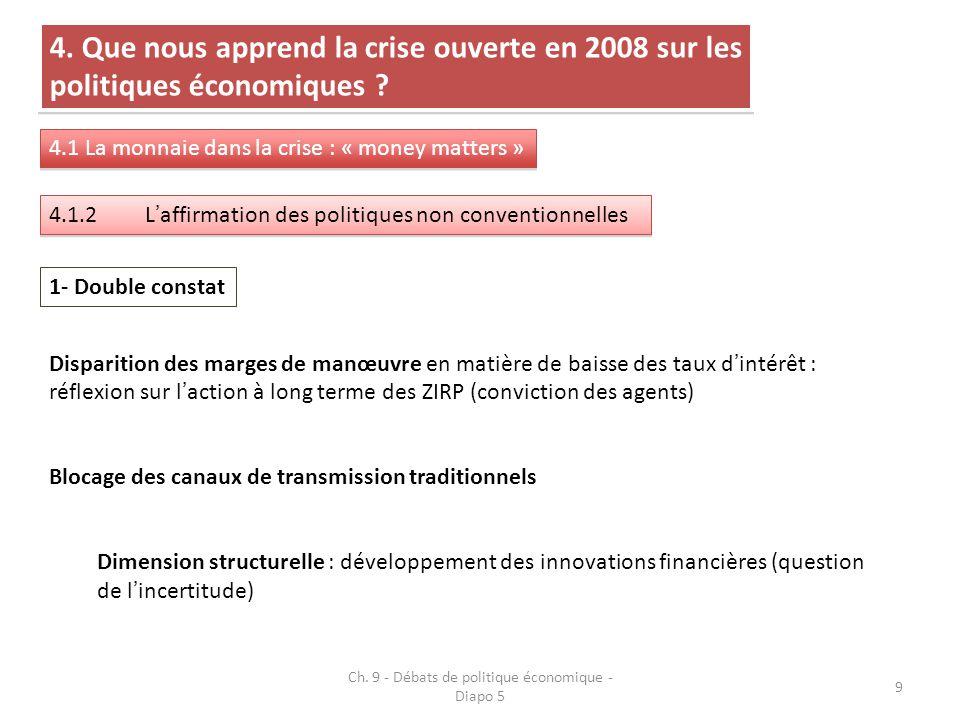 9 4. Que nous apprend la crise ouverte en 2008 sur les politiques économiques .