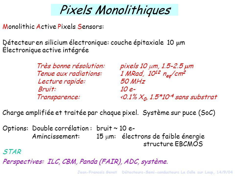 Pixels Monolithiques Monolithic Active Pixels Sensors: Détecteur en silicium électronique: couche épitaxiale 10 m Électronique active intégrée Très bonne résolution: pixels 10 m, 1.5-2.5 m Tenue aux radiations: 1 MRad, 10 12 n eq /cm 2 Lecture rapide: 50 MHz Bruit:10 e- Transparence:<0.1% X 0, 1.5*10 -4 sans substrat Charge amplifiée et traitée par chaque pixel.