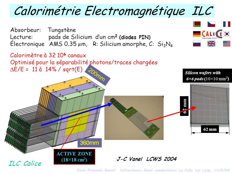 Absorbeur: Tungstène Lecture: pads de Silicium dun cm 2 (diodes PIN) Électronique AMS 0.35 m, R: Silicium amorphe, C: Si 3 N 4 Calorimètre à 32 10 6 canaux Optimisé pour la séparabilité photons/traces chargées E/E = 11 à 14% / sqrt(E) 62 mm Silicon wafers with 6×6 pads (10×10 mm 2 ) 62 mm ILC Calice ACTIVE ZONE (18×18 cm 2 ) 200mm 360mm J-C Vanel LCWS 2004 Calorimétrie Electromagnétique ILC Jean-Francois Genat Détecteurs-Semi-conducteurs La Colle sur Loup, 14/9/04