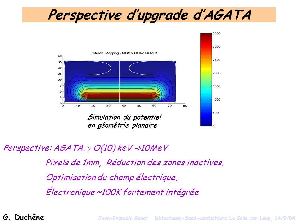 Perspective dupgrade dAGATA Perspective: AGATA. O(10) keV ->10MeV Pixels de 1mm, Réduction des zones inactives, Optimisation du champ électrique, Élec