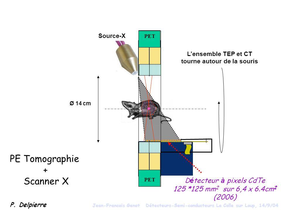 Ø 14 cm PET D é tecteur à pixels CdTe 125 *125 mm 2 sur 6,4 x 6.4cm 2 (2006) PET Lensemble TEP et CT tourne autour de la souris Source-X PE Tomographie + Scanner X P.