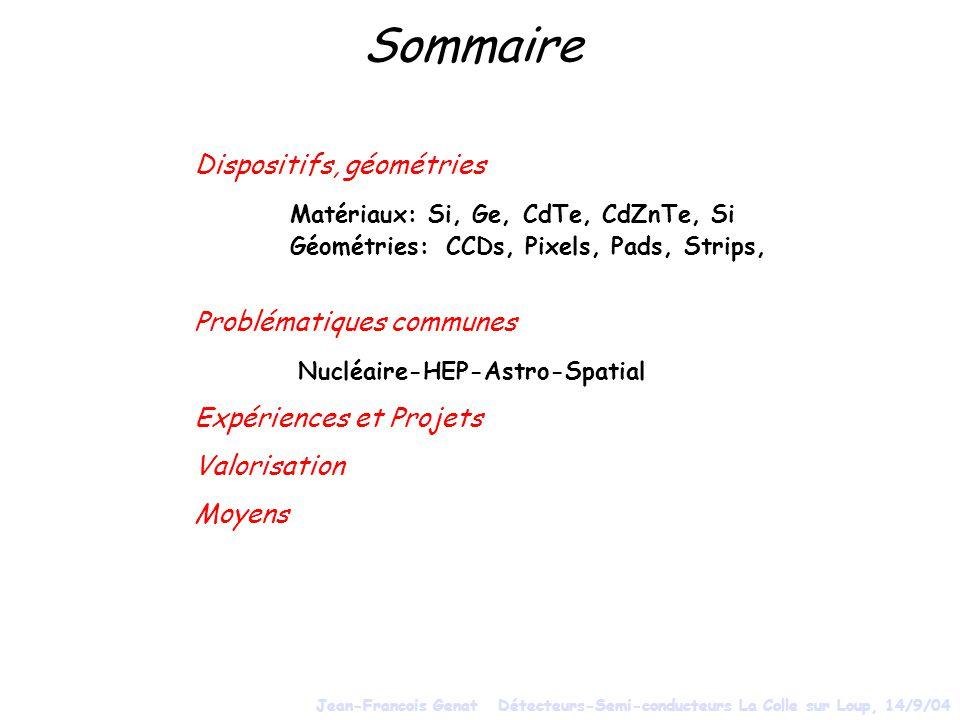 Sommaire Dispositifs, géométries Matériaux: Si, Ge, CdTe, CdZnTe, Si Géométries: CCDs, Pixels, Pads, Strips, Problématiques communes Nucléaire-HEP-Ast