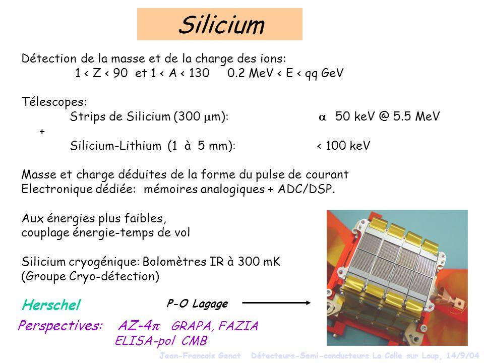 Silicium Détection de la masse et de la charge des ions: 1 < Z < 90 et 1 < A < 130 0.2 MeV < E < qq GeV Télescopes: Strips de Silicium (300 m): 50 keV @ 5.5 MeV + Silicium-Lithium (1 à 5 mm): < 100 keV Masse et charge déduites de la forme du pulse de courant Electronique dédiée: mémoires analogiques + ADC/DSP.