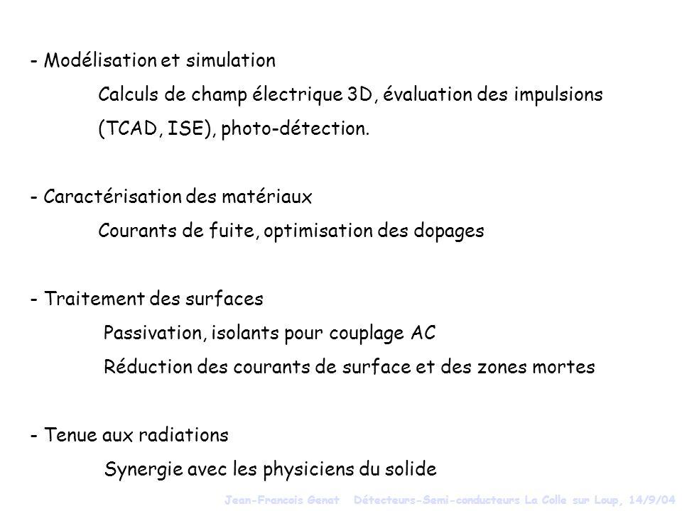 - Modélisation et simulation Calculs de champ électrique 3D, évaluation des impulsions (TCAD, ISE), photo-détection. - Caractérisation des matériaux C