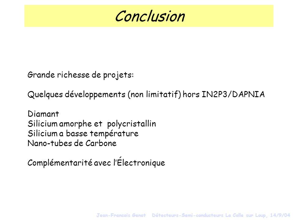 Conclusion Grande richesse de projets: Quelques développements (non limitatif) hors IN2P3/DAPNIA Diamant Silicium amorphe et polycristallin Silicium a