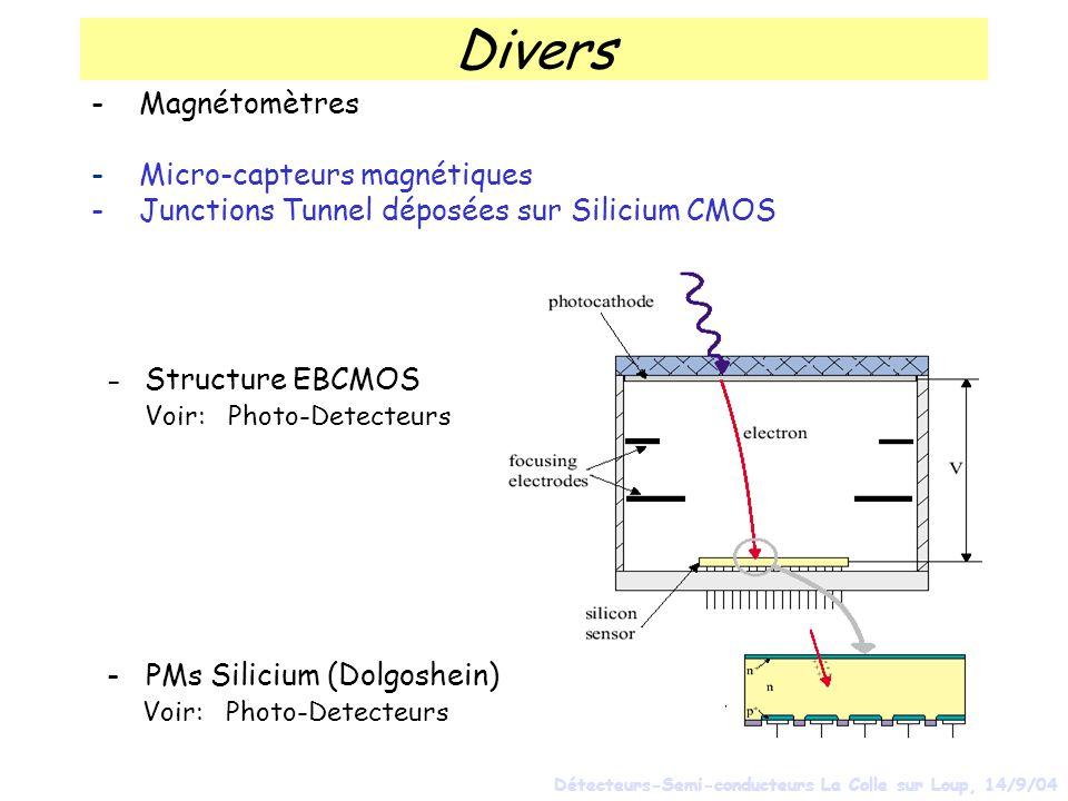 Divers - Magnétomètres - Micro-capteurs magnétiques - Junctions Tunnel déposées sur Silicium CMOS - Structure EBCMOS Voir: Photo-Detecteurs Détecteurs-Semi-conducteurs La Colle sur Loup, 14/9/04 - PMs Silicium (Dolgoshein) Voir: Photo-Detecteurs