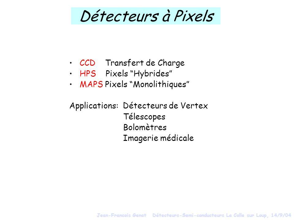 Détecteurs à Pixels CCD Transfert de Charge HPS Pixels Hybrides MAPS Pixels Monolithiques Applications: Détecteurs de Vertex Télescopes Bolomètres Ima