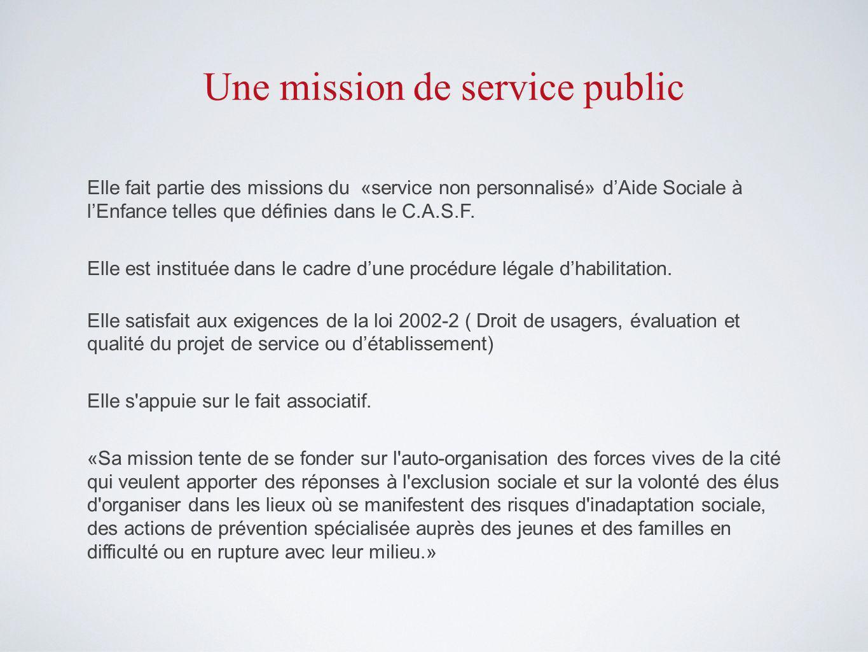 Une mission de service public Elle fait partie des missions du «service non personnalisé» dAide Sociale à lEnfance telles que définies dans le C.A.S.F.