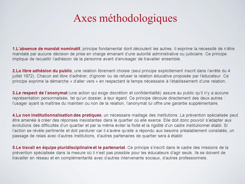 Axes méthodologiques 1.Labsence de mandat nominatif, principe fondamental dont découlent les autres.