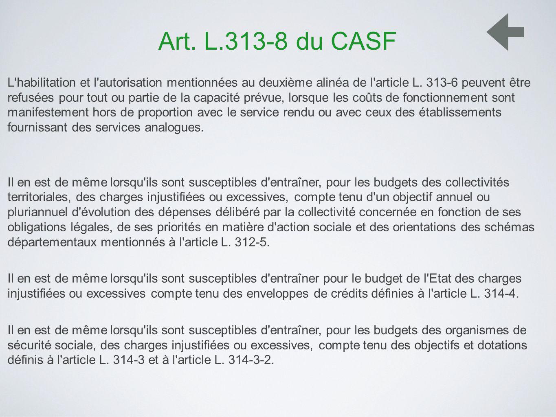 Art. L.313-8 du CASF L'habilitation et l'autorisation mentionnées au deuxième alinéa de l'article L. 313-6 peuvent être refusées pour tout ou partie d