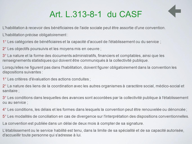 Art. L.313-8-1 du CASF L'habilitation à recevoir des bénéficiaires de l'aide sociale peut être assortie d'une convention. L'habilitation précise oblig