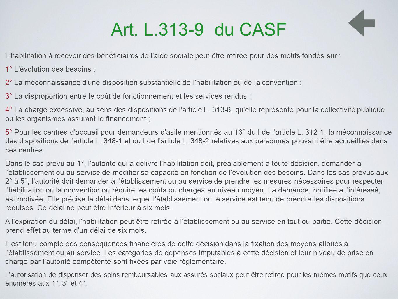 Art. L.313-9 du CASF L'habilitation à recevoir des bénéficiaires de l'aide sociale peut être retirée pour des motifs fondés sur : 1° L'évolution des b