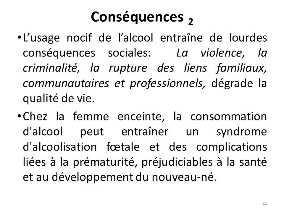 Conséquences 2 Lusage nocif de lalcool entraîne de lourdes conséquences sociales: La violence, la criminalité, la rupture des liens familiaux, communa
