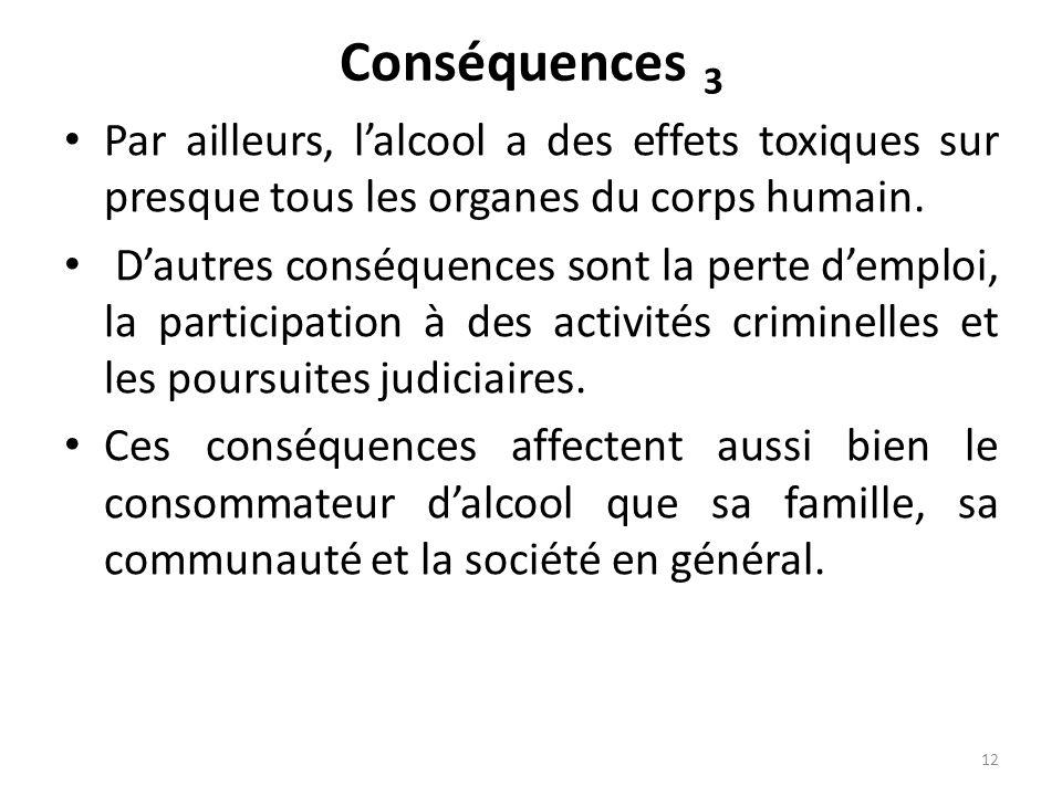 Conséquences 3 Par ailleurs, lalcool a des effets toxiques sur presque tous les organes du corps humain. Dautres conséquences sont la perte demploi, l