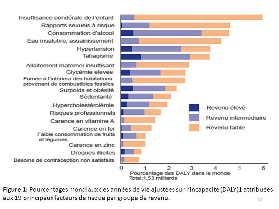 Figure 1: Pourcentages mondiaux des années de vie ajustées sur lincapacité (DALY)1 attribuées aux 19 principaux facteurs de risque par groupe de reven