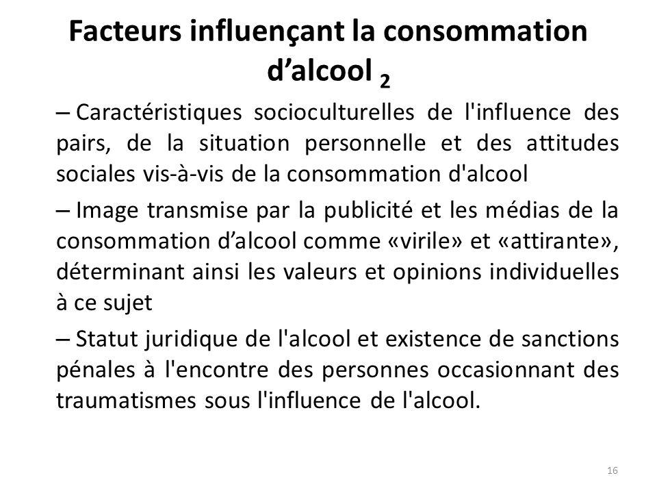 Facteurs influençant la consommation dalcool 2 – Caractéristiques socioculturelles de l'influence des pairs, de la situation personnelle et des attitu