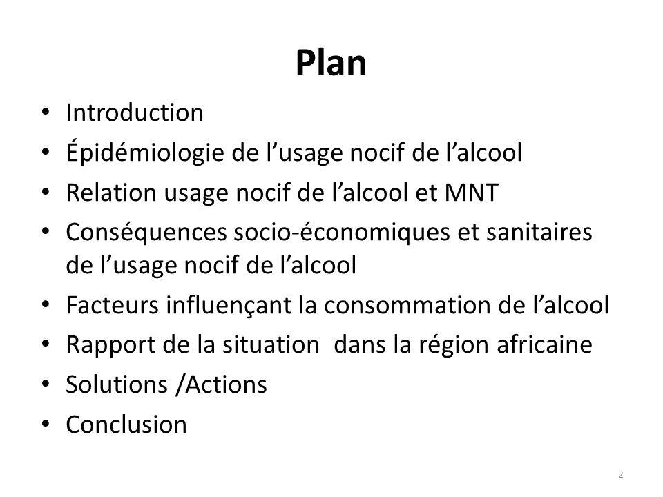 Plan Introduction Épidémiologie de lusage nocif de lalcool Relation usage nocif de lalcool et MNT Conséquences socio-économiques et sanitaires de lusa