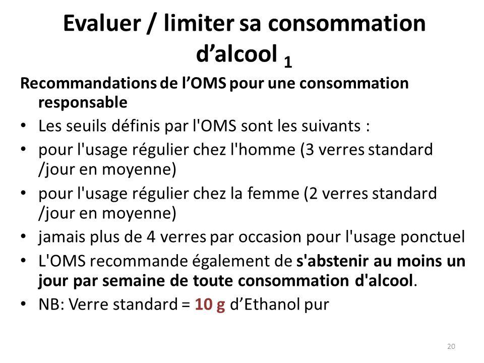 Evaluer / limiter sa consommation dalcool 1 Recommandations de lOMS pour une consommation responsable Les seuils définis par l'OMS sont les suivants :