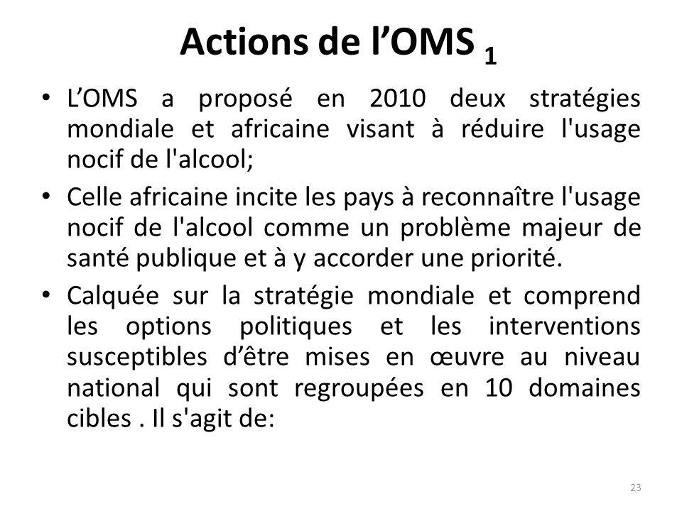 Actions de lOMS 1 LOMS a proposé en 2010 deux stratégies mondiale et africaine visant à réduire l'usage nocif de l'alcool; Celle africaine incite les