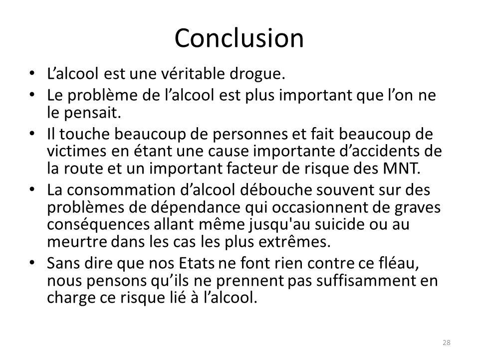 Conclusion Lalcool est une véritable drogue. Le problème de lalcool est plus important que lon ne le pensait. Il touche beaucoup de personnes et fait