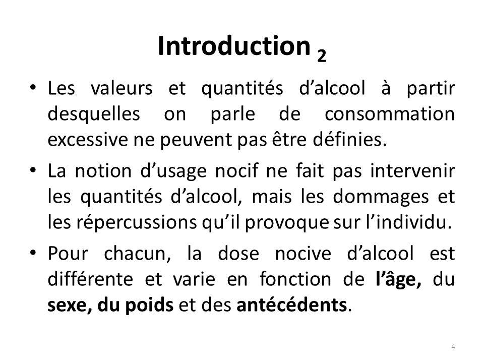 Introduction 2 Les valeurs et quantités dalcool à partir desquelles on parle de consommation excessive ne peuvent pas être définies. La notion dusage
