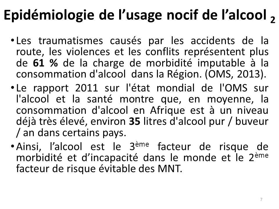 Epidémiologie de lusage nocif de lalcool 2 Les traumatismes causés par les accidents de la route, les violences et les conflits représentent plus de 6