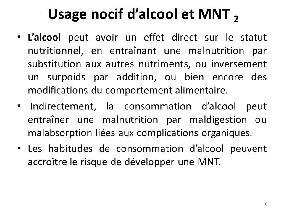 Usage nocif dalcool et MNT 2 Lalcool peut avoir un effet direct sur le statut nutritionnel, en entraînant une malnutrition par substitution aux autres