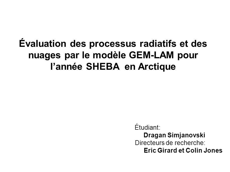 Directeurs de recherche: Eric Girard et Colin Jones Étudiant: Dragan Simjanovski Évaluation des processus radiatifs et des nuages par le modèle GEM-LA