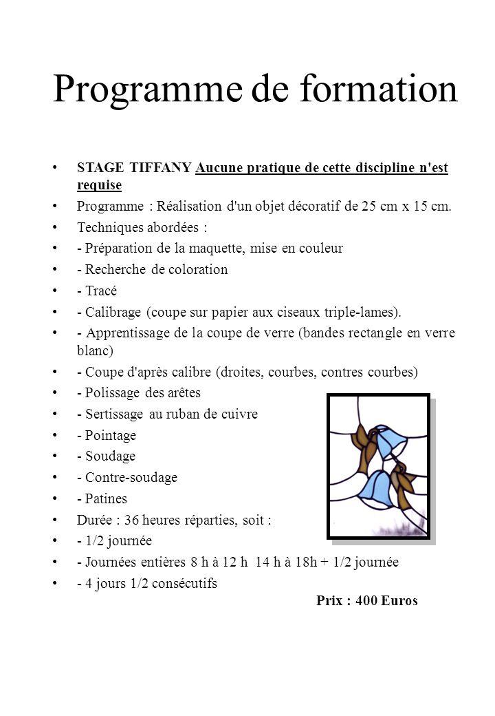 Programme de formation STAGE TIFFANY Aucune pratique de cette discipline n est requise Programme : Réalisation d un objet décoratif de 25 cm x 15 cm.